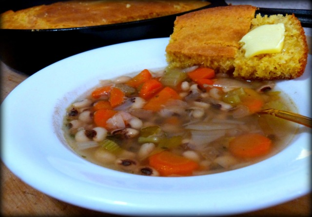 Black Eyed Pea Soup and Skillet Cornbread
