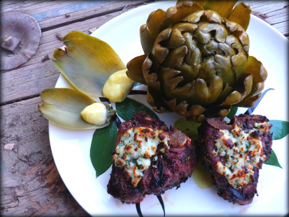 Grilled Marinated Lamb Chops with Herby GoatCheese