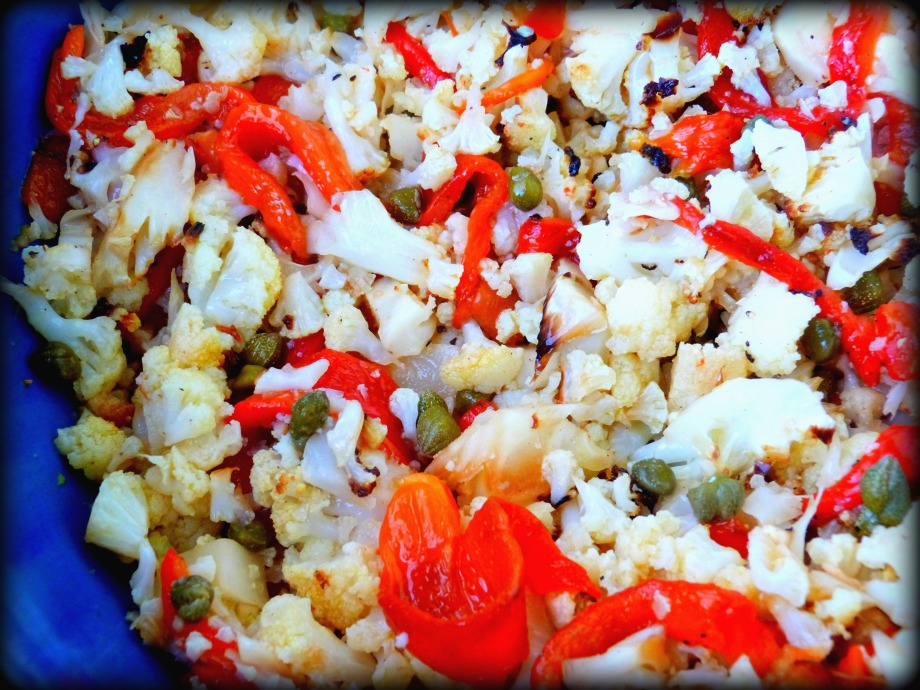 Italian Style Roasted Cauliflower and Red Pepper Salad