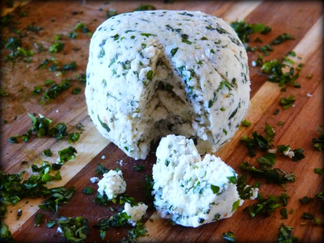 Wedge of Homemade Goat Cheese