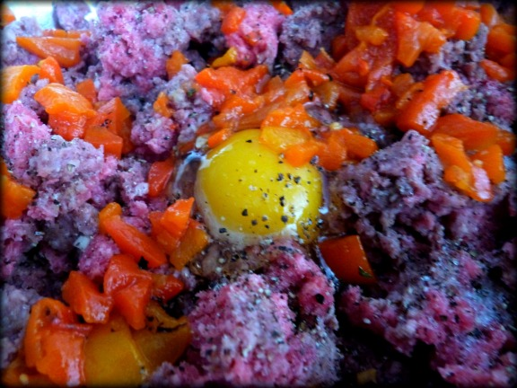 Add an egg and some marinated peppers