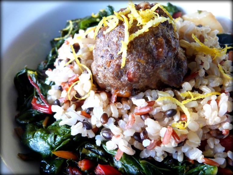 Italian Meatball with Wild Rice and Sauteed Rainbow Chard