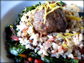 Italian Meatball with Wild Rice and Sauteed Rainbow Chard